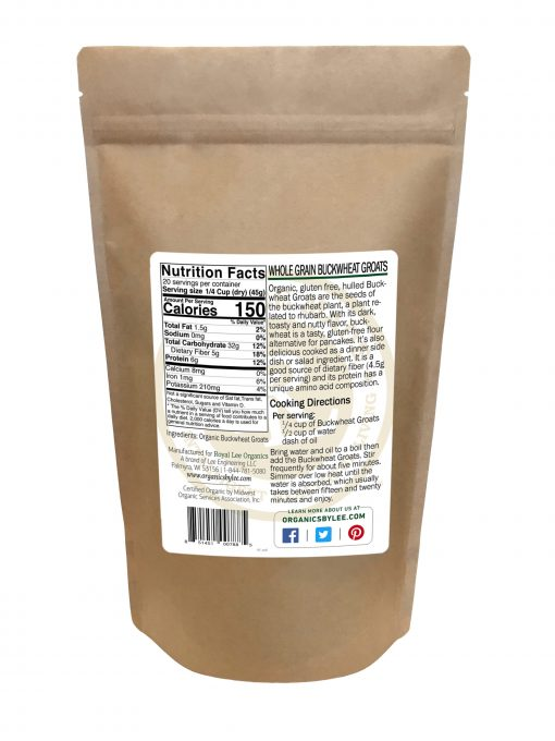 Buckwheat Groats Nutrition Facts from Royal Lee Organics