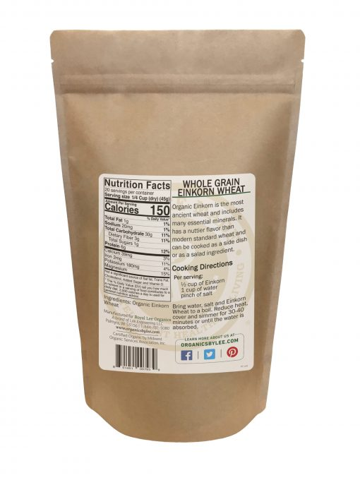 Einkorn Nutrition Facts from Royal Lee Organics