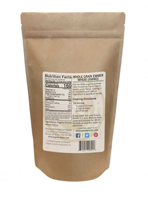 Emmer Nutrition Facts from Royal Lee Organics
