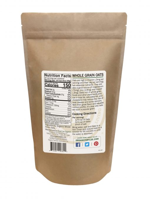 Oats Nutrition Facts from Royal Lee Organics