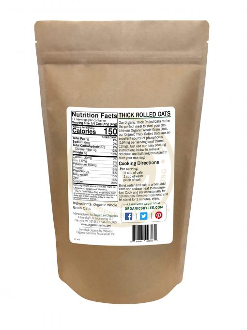 Oatmeal Nutrition Facts from Royal Lee Organics